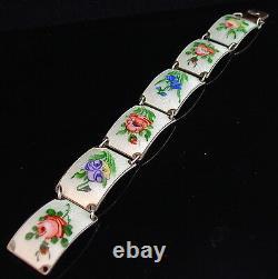 Vintage big! 925 SILVER GILT Norway enamel pink blue white flower bracelet -1807