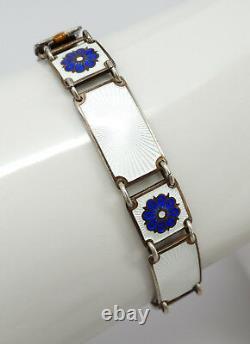 Vtg David Andersen Norway Sterling Blue Flower Guilloche Enamel Floral Bracelet