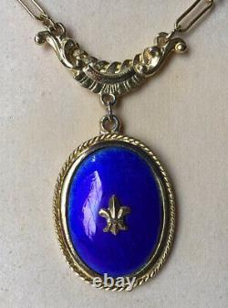 Vtg GOLDETTE Blue Enamel Guilloche Fleur De Lis Pendant Necklace MINT