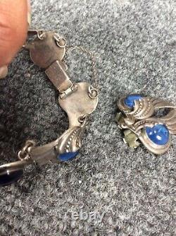 Vtg Margot de Taxco sterling silver 925 blue glass bracelet earrings set