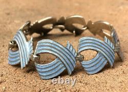 Vtg Modernist Margot de Taxco Mexico Sterling Silver Baby Blue Enamel Bracelet