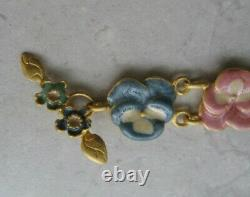 Vtg Pansy Enamel Flower Gold Gilt Pink Green Blue Panel Bracelet Pastel Minte