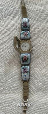 Vtg Russian Watch Womens ChaikaEnamel Porcelain Pink Roses Bracelet Watch
