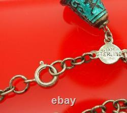 Vtg. Siam Sterling Silver Enamel Niello Dancer Bell & Tear Drop Charm Bracelet