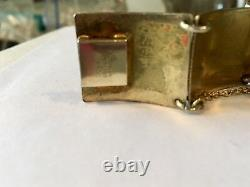 Wonderful Antique Vintage Sterling Enamel Bracelet With Pink And Blue Flowers